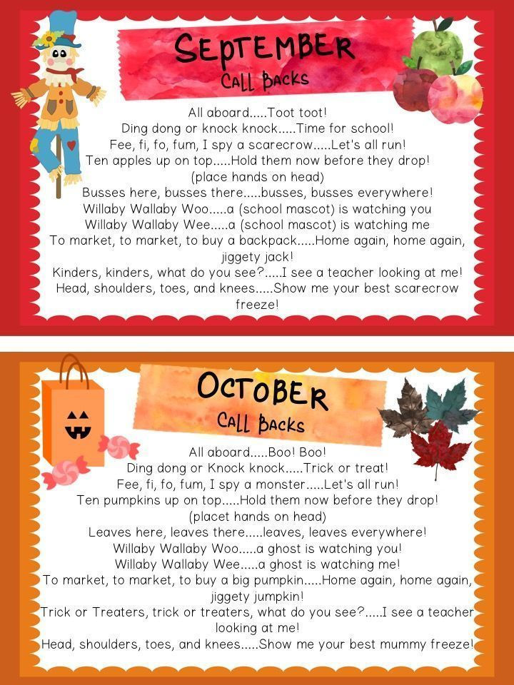 Get childrens attention in a playful way with these fun seasonally-themed Call Backs. In this collection, you will find 9 different call and response chants/rhymes for each month from September to June.