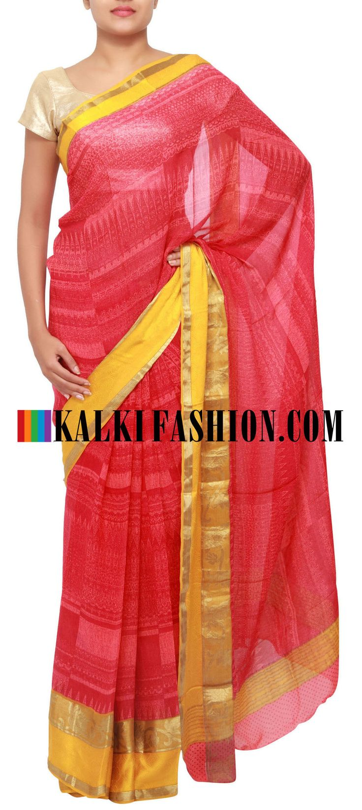 Get this beautiful saree here: http://www.kalkifashion.com/printed-saree-in-red-highlighted-in-banarasi-border-only-on-kalki.html Free shipping worldwide.