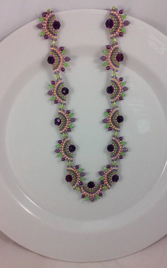 Purple Seed Bead Necklace, green, yellow-orange, pink, beadwoven, beadweaving, serpentine design, unique, OOAK