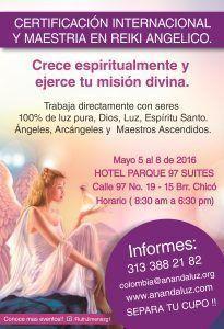 Primera Maestria Internacional de REIKI Angelico Bogota  Colombia. Mayo 5 al 8 de 2016
