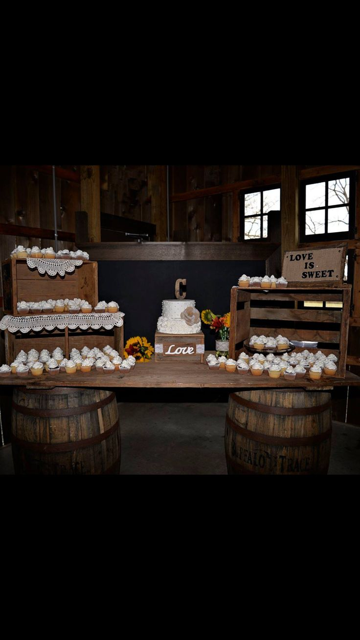Country Rustic Wedding Cake Display Crates And Barn Wood