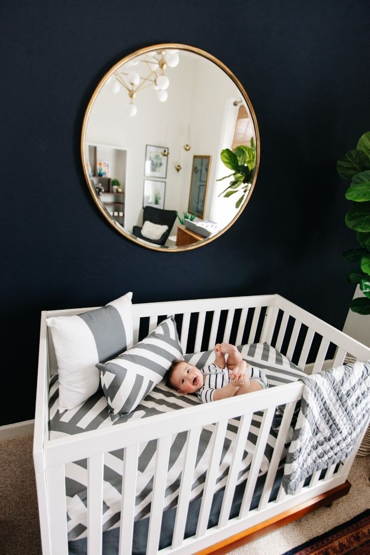 Save this nursery room makeover to get inspo for your own baby's modern + minimal space.