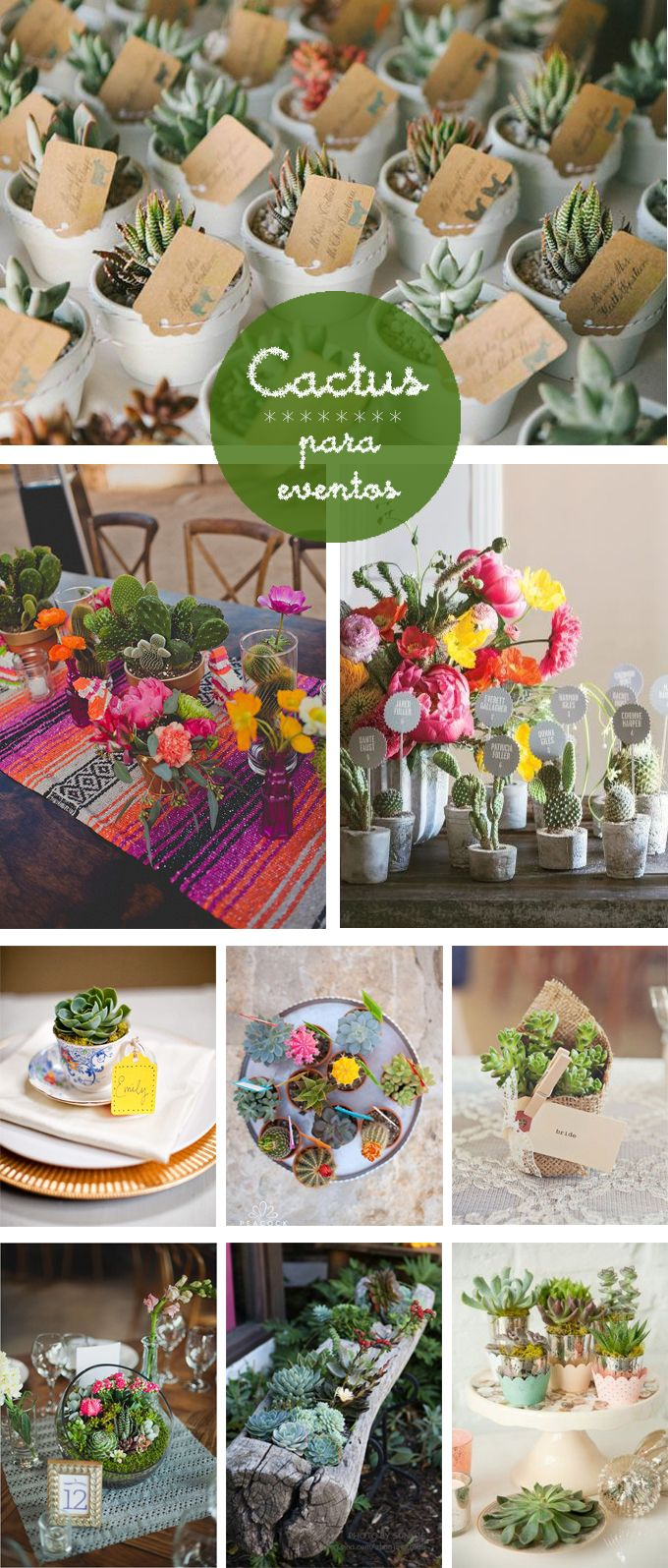 Tanto para casa como para eventos, si no tienes buena mano con las flores... prueba con los cactus.
