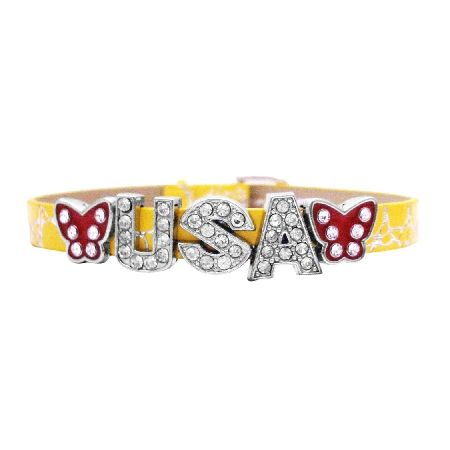 Price : $6.99 Be Proud To Wear This Bracelet w/ Letter USA Sparkle Like Diamond You will find only the highest & finest quality jewelry findings available in our personalized jewelry pieces. We pride ourselves in superior quality that is affordable in each bracelet  Bracelet Length : 6 to 7 inches  Bracelet Type : Watch Strap