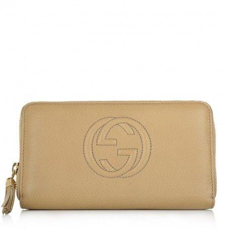 Gucci Kleinleder – Soho Cellarius Zip Around Wallet Beige – in beige – Kleinleder für Damen