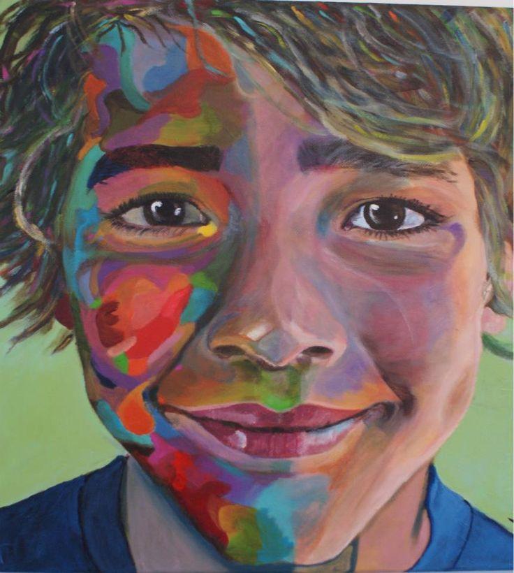 Kleurrijk portret 50 x 50 cm acrylverf op 3D doek