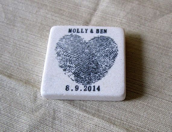 Heart Thumbprint Save the Date Magnets - Personalized Wedding Favors - Black…