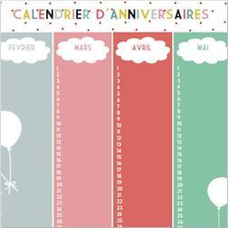Calendrier d'anniversaires #print http://www.babayaga-magazine.com/le-calendrier-danniversaires/