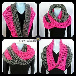 This pattern is available for free on Ravelry. Crochet cowl to wear lots of ways. Designed for bulky yarn. I like the openwork. Uses 4 skeins.