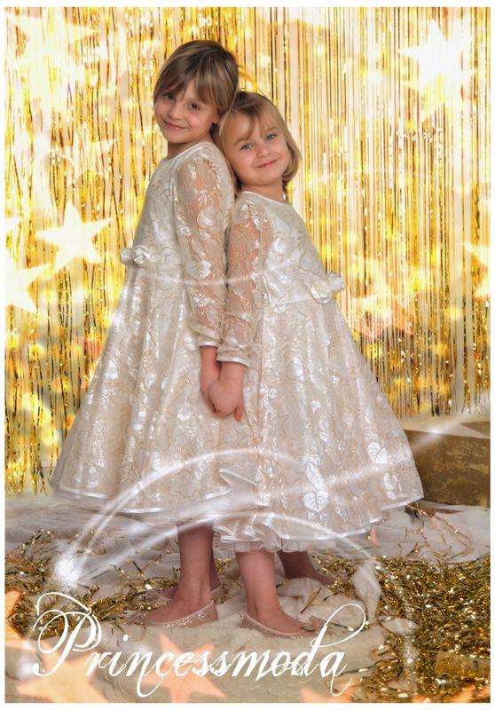 LUCIA - Ein Traum aus goldverzierter Spitze! - Princessmoda - Alles für Taufe Kommunion und festliche Anlässe