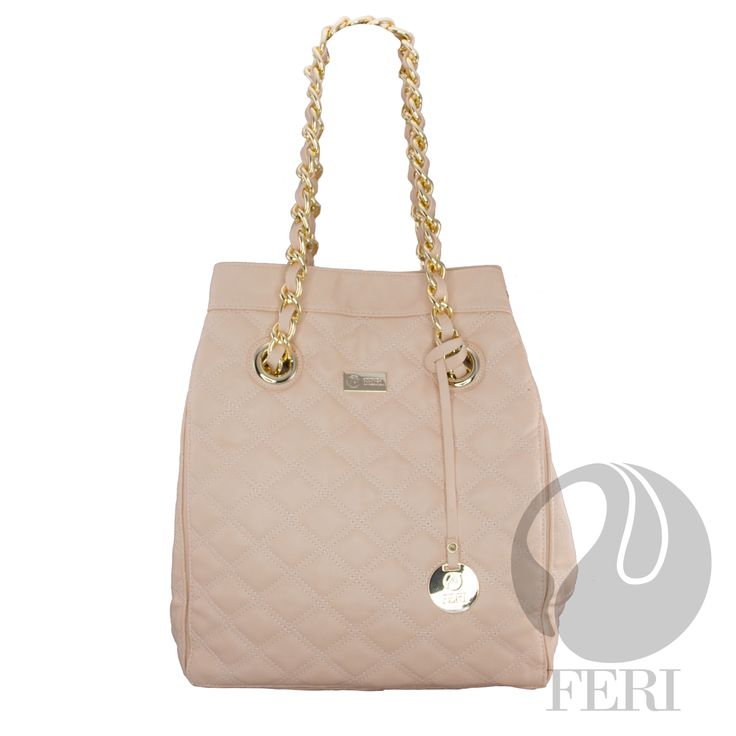 "FERI Day2Day - Calla - Purse - Pale Pink - Oversized POLYURETHANE purse with quilted top stitching - Gold toned chain (not recommended for hot climates) and PU leather handles - Magnetic snap closure with small zipper - Metal feet on bottom of bag to protect - Custom FERI lining with zippered pouch and cellphone pockets - Dimension: 13.86"" x 15.75"" x 7.87""  www.gwtcorp.com/ghem or email fashionforghem.com for big discount fashionforghem.blogspot.com"