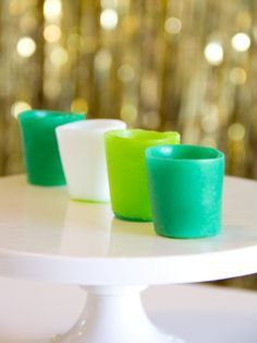Shot Glasses from Airheads Candy! These can be done in loads of colors & be used as edible Jello Shot cups! Now that's a good idea!