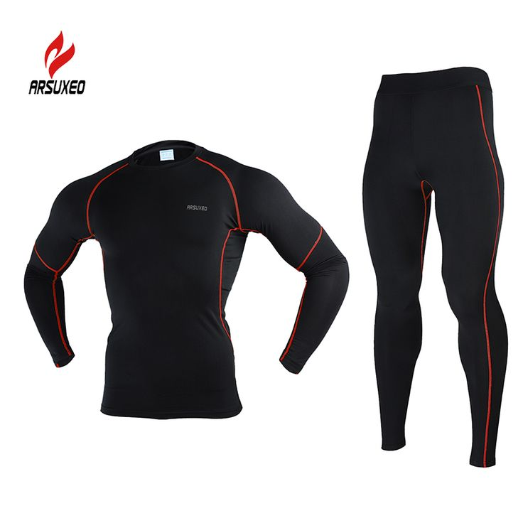 2015 ARSUXEO Men Winter Thermal Warm Up Fleece Compression Cycling  Base Layers Shirts Running Sets Jersey  Sports Suits N56