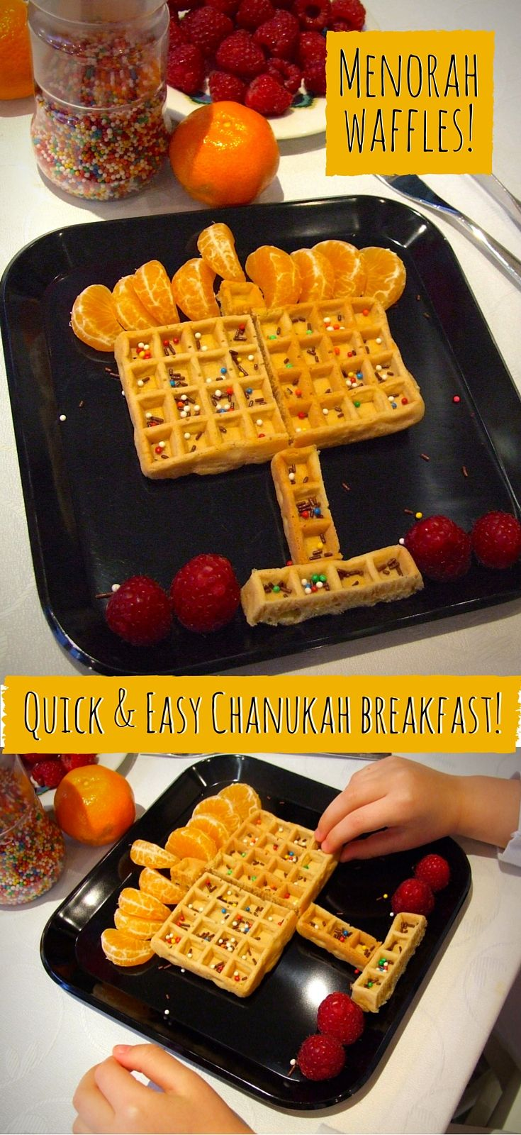 You can assemble these quick & easy Menorah waffles in moments for a special Chanukah breakfast!