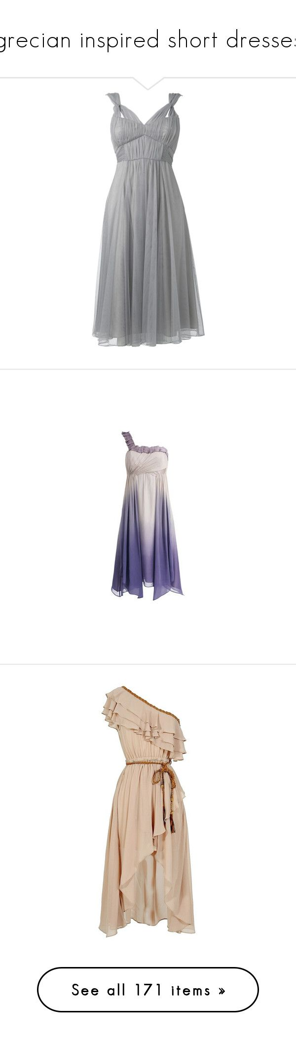 """grecian inspired short dresses"" by rebellious-ingenue ❤ liked on Polyvore featuring dresses, vestidos, short dresses, gowns, mesh dress, shirred dress, rouched dress, v neck short dress, purple and one shoulder short dress"
