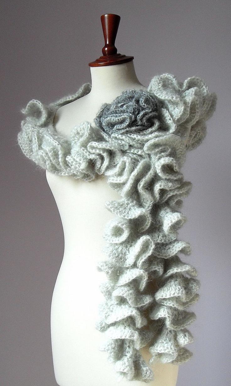 JOSEPHINE - Ruffled Scarf Knitting Mohair. $245.00, via Etsy.
