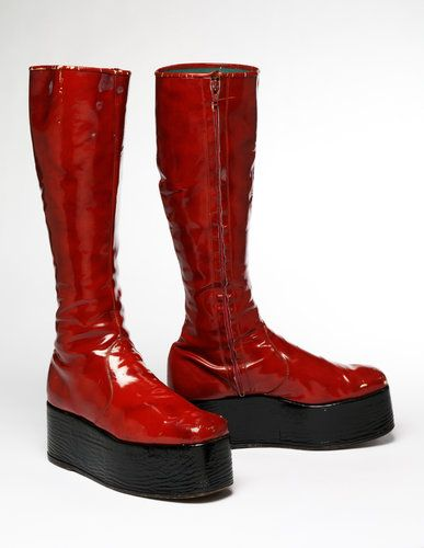 From the David Bowie Archive: Red platform boots made for Bowie's 1973 ''Aladdin Sane'' tour.