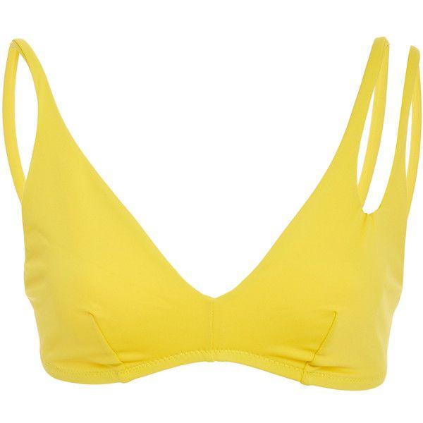 Araks Elias Strappy Bikini Top (625 BRL) ❤ liked on Polyvore featuring swimwear, bikinis, bikini tops, yellow, araks, bra top, strap bikini, strappy swim top and tankini tops