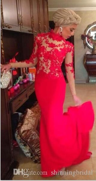 Red Evening Dresses Sheer High Crew Neckline Lace Long Sleeve Mermaid