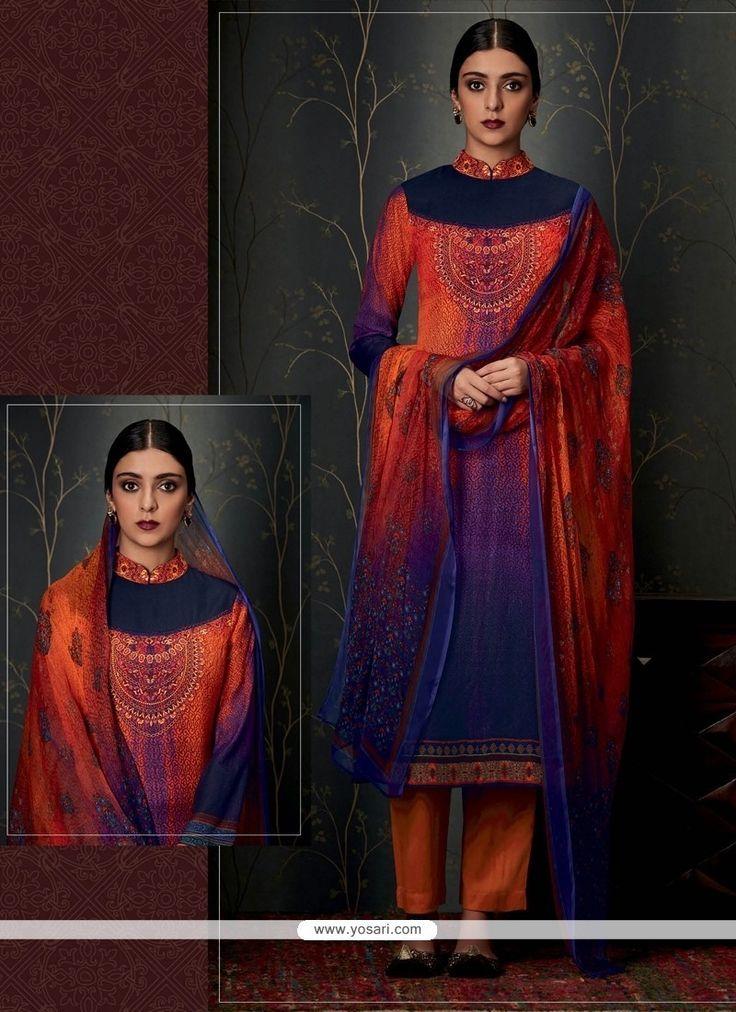 Trendy Print Work Designer Straight Salwar Suit Model: YOS7968