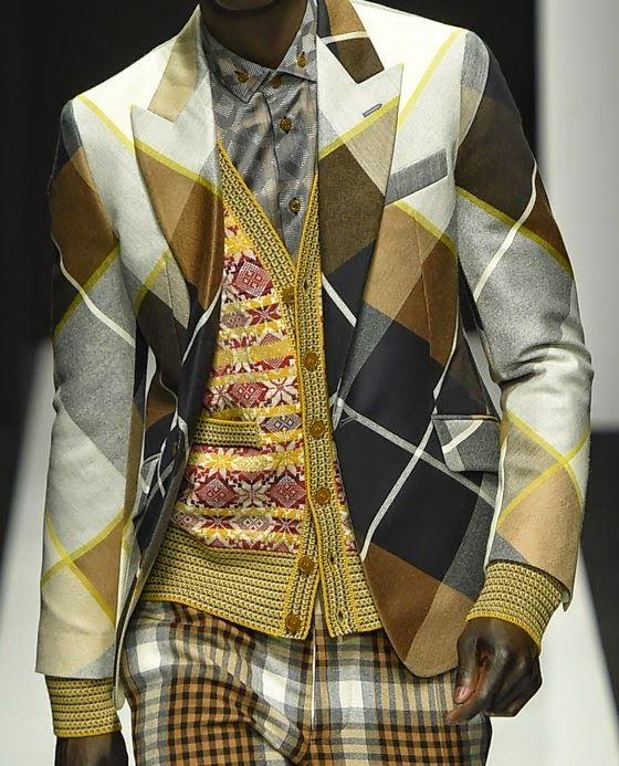 patternprints journal: PRINTS, PATTERNS AND TEXTILE SURFACES FROM MILAN CATWALKS (MENSWEAR F/W 2015/16) / Vivienne Westwood.