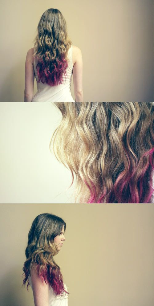 Would you try it? Semi-permanent pink hair tips.Dyed Hair, Dips Dyed, Dark Hair, Ombre Hair, Dips Dyes, Girls Hairstyles, Dyes Hair, Hair Style, Hair Tips