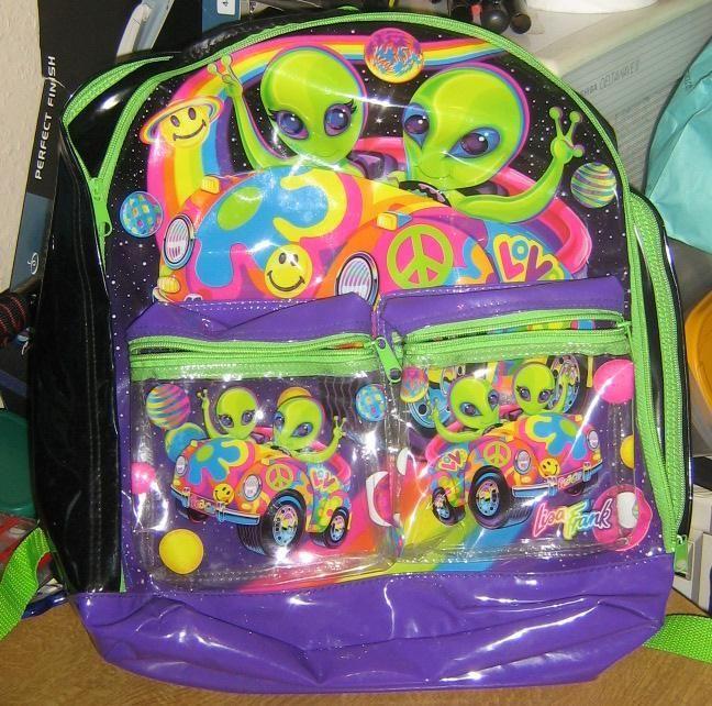 Lisa Frank backpack, accessories, aliens, rainbow, neon, 1990s, 90s