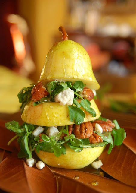Pear Salad:   4 skinned pears  2-3 cups watercress  1/2 cup toasted pecans  1/4 cup crumpled blue cheese  vinigrette dressing  honey for drizzling   lemon juice (brush on pear to prevent browning)