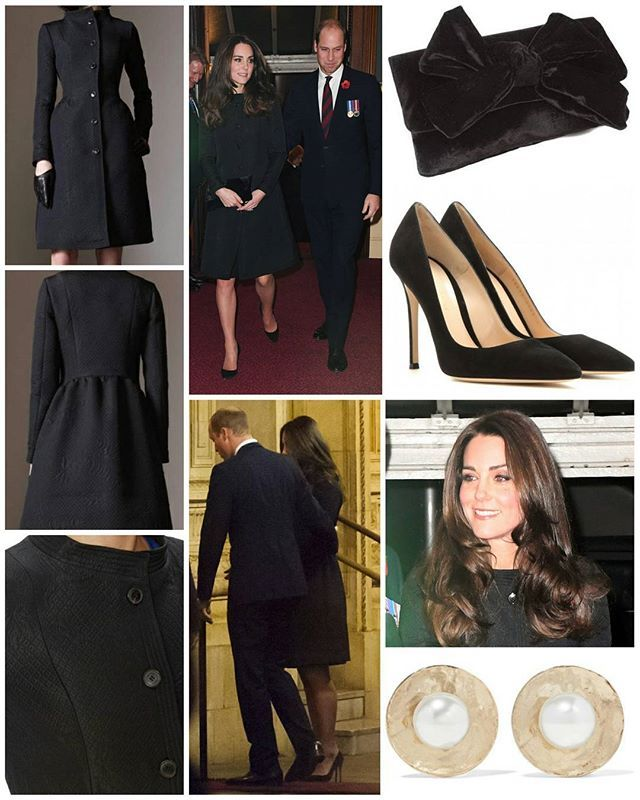 "Yesterday, The Duke and Duchess of Cambridge accompanied other members of the royal family at Festival of Remembrance in Albert Hall. the Duchess opted for black tonight, choosing the Temperley London Callas Coat from the designer's Pre-Fall 2014 Collection. The elegant £995 coat features a beautiful floral diamond jacquard fabric. It is now sold out, but a product description on OuterwearTalk shared the following information: ""Beautiful knee-length coat made from a lightweight black floral…"