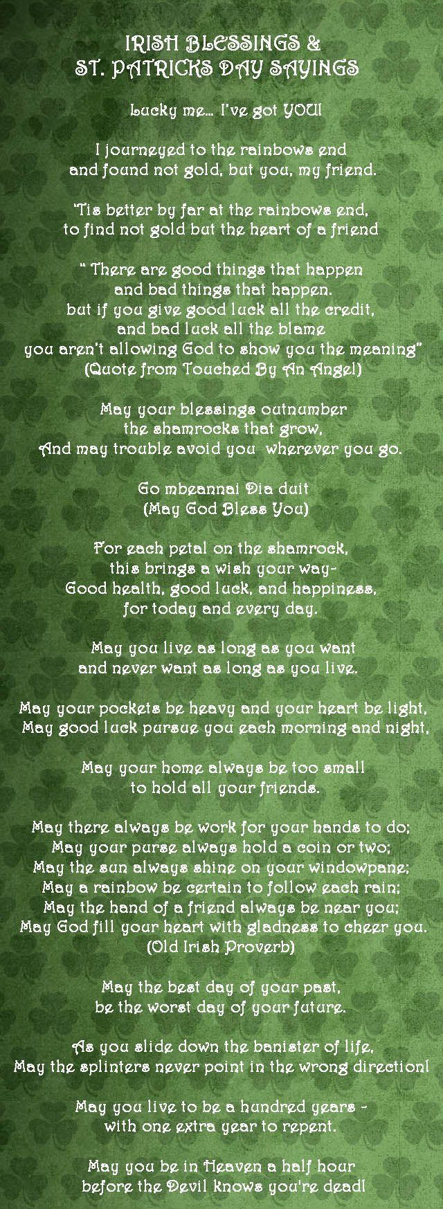 Irish Blessings & St. Patrick's Day Sayings