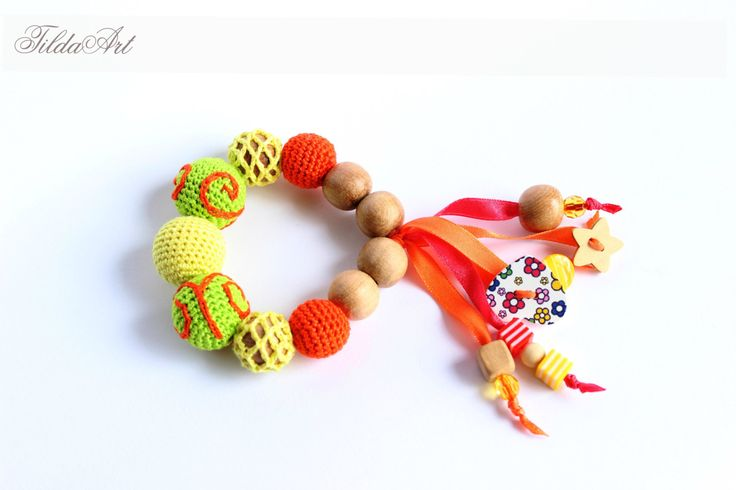 Crochet Baby Teether, Wooden teething bracelet, Natural teething toy, Juniper teether, first toy for baby, baby shower gift by TildaArt on Etsy