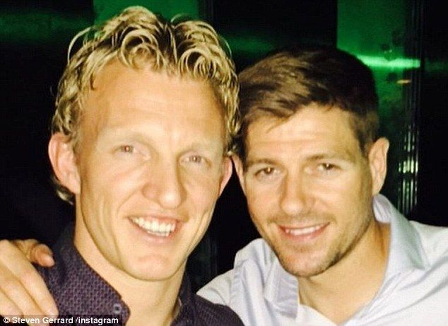 Fenerbahce forward Dirk Kuyt (left) was also among the familiar faces in Liverpool on Sund...