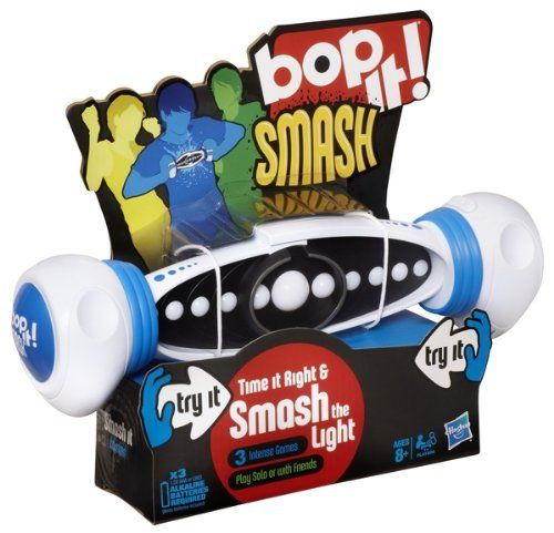 Bop It! Smash. This is a quick reaction skill game that will tests your reflexes.