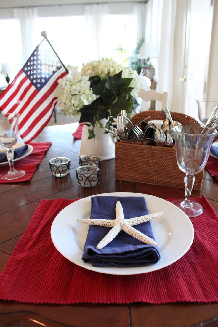 Perfect place setting for a Fourth of July party at the beach.