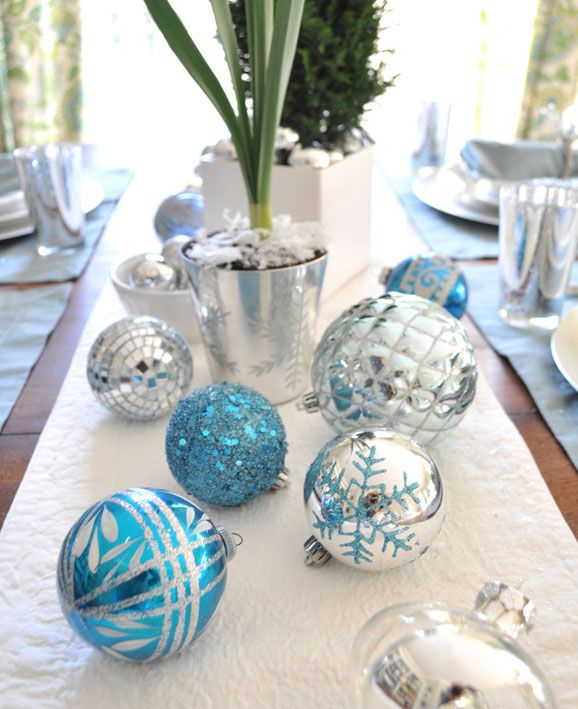 Blue Christmas Table Decorations Ideas Decoration For Home