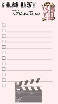 Auch eine Film-Liste darf natürlich nicht fehlen! :)- Filofax - Personal - Domino - Love - Inserts - To-Do - Lists - Challenges -