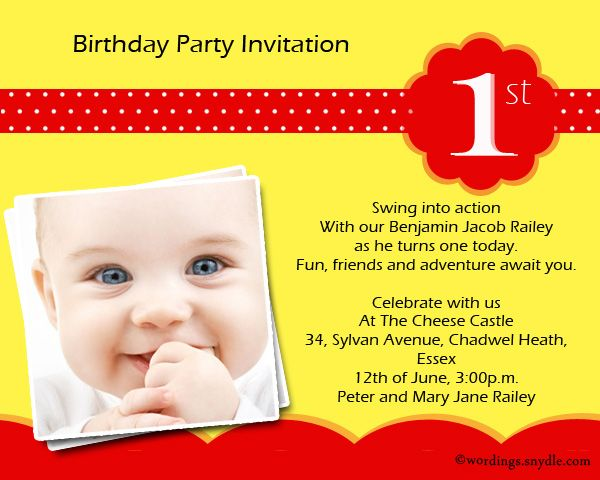 1st Birthday Party Invitation Wording Birthdays Party