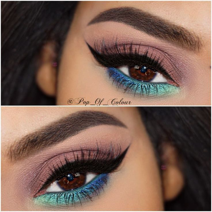two-tone lower lashline on a neutral mauve smokey eye w/ winged liner @pop_of_colour | #blue turquoise green + black eyeliner. pop of color makeup