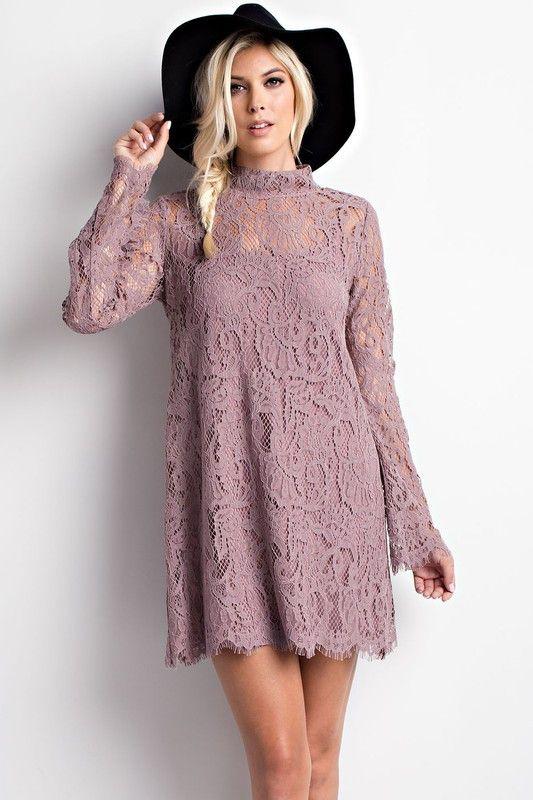 High Neck Keyhole Back Crochet Dress