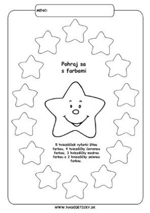 Vianočné pracovné listy - hviezdičky