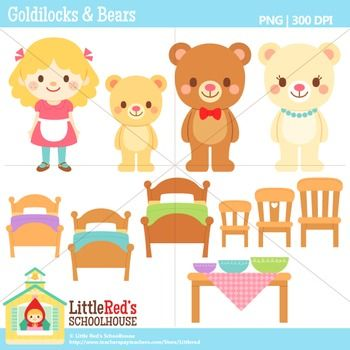 Clip Art - Goldilocks and the Three Bears- Fairy Tale Clipart $