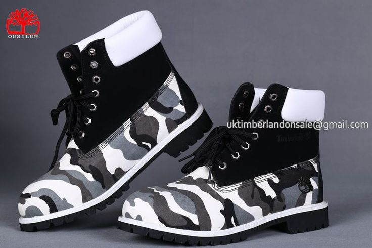 Timberland 6 Inch Boots For Men Shoes Surface Printing Camo Black White $ 78.00