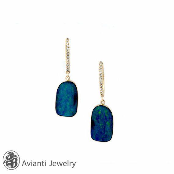 Opal EarringsOpal and Diamond Earrings14 Karat Yellow Gold