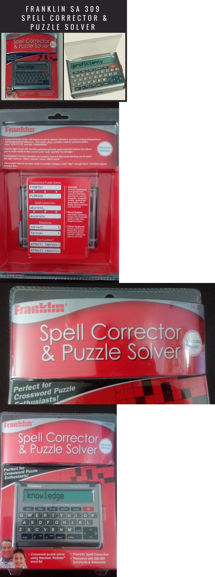 Dictionaries and Translators: New Sealed Franklin Merriam Webster Spell Corrector And Puzzle Solver Sa-309 -> BUY IT NOW ONLY: $64.95 on eBay!