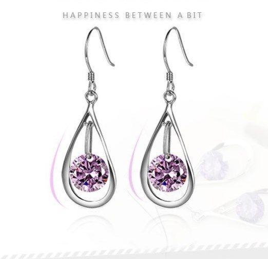 Silver Toner Amethyst Purple Heart Drop Dangle Earrings Gift Box Party Moving J4