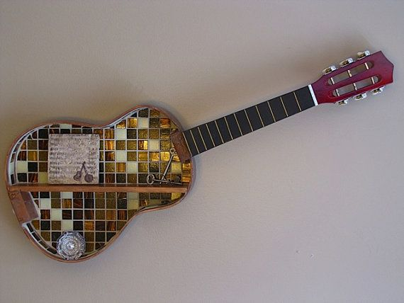 Stunning mosaic acoustic guitar shelf!  For sale at our shop:  www.musicasartbysarah.etsy.com