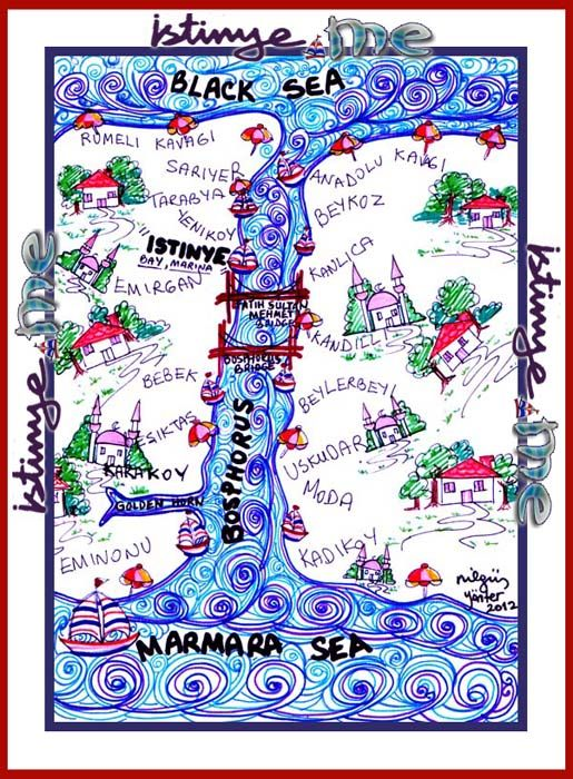 """Istinye: A """"#postmodern"""" location somewhere on the Bosphorus!...By a #postmodern miniature map!...(Painted by a """"#postmodern artist""""!...)Istanbul/Turkey"""