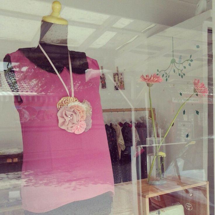 simplypink|top|chiffon|black|collar|small|limited|handmade|