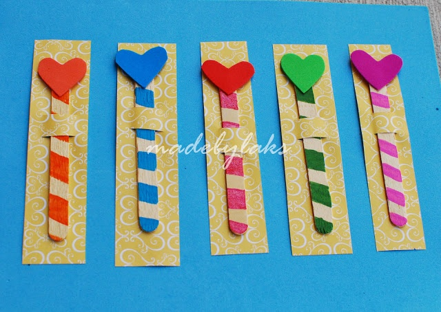 Heart Bookmark - Simple homemade craft ~ Crafts Made By Laks