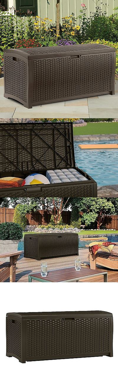 Other Patio and Garden Furniture 10035: Storage Deck Box Outdoor Container Bin Chest Patio Suncast 73 Gallon Bench Brown -> BUY IT NOW ONLY: $79.95 on eBay!